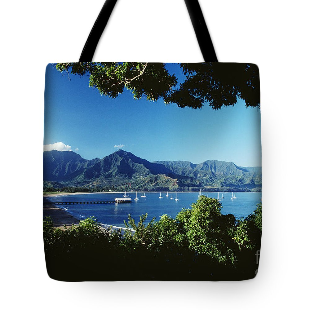 Afternoon Tote Bag featuring the photograph Hanalei Bay Boats by David Cornwell First Light Pictures Inc - Printscapes