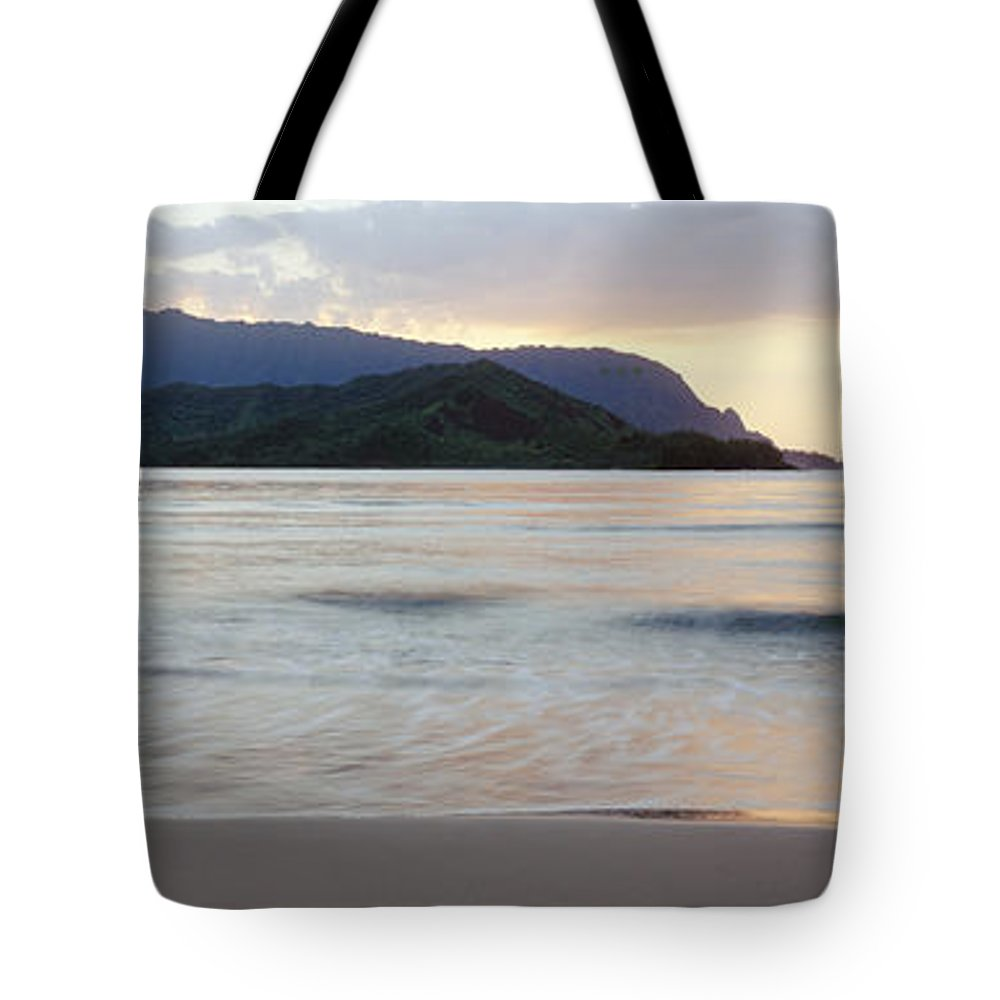 Bali Hai Tote Bag featuring the photograph Hanalei Bay Evening by Bill Schildge - Printscapes