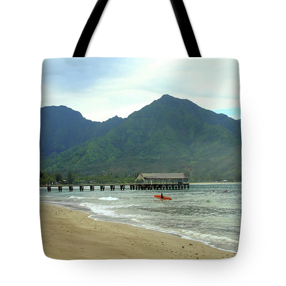 Landscape Tote Bag featuring the photograph Hanalei Bay II by Mary Haber