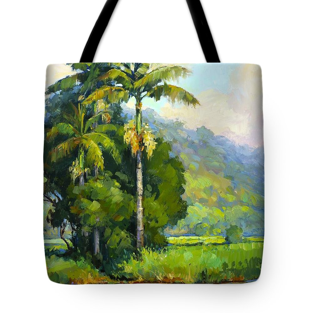 Moon Tote Bag featuring the painting Hanalei River Moonrise by Jenifer Prince