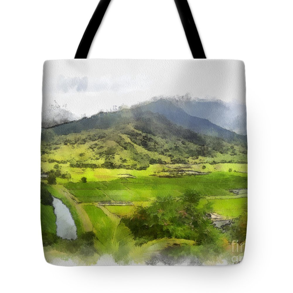 Hanalei Tote Bag featuring the painting Hanalei Valley by Paulette B Wright