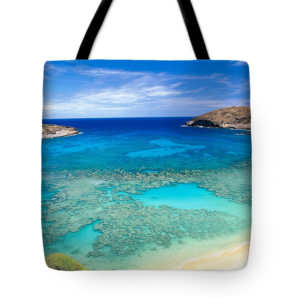 Above Tote Bag featuring the photograph Hanauma Bay by Peter French - Printscapes