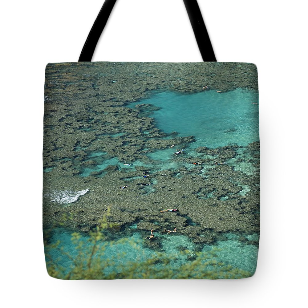 Bay Tote Bag featuring the photograph Hanauma Bay Reef And Snorkelers by Peter French - Printscapes