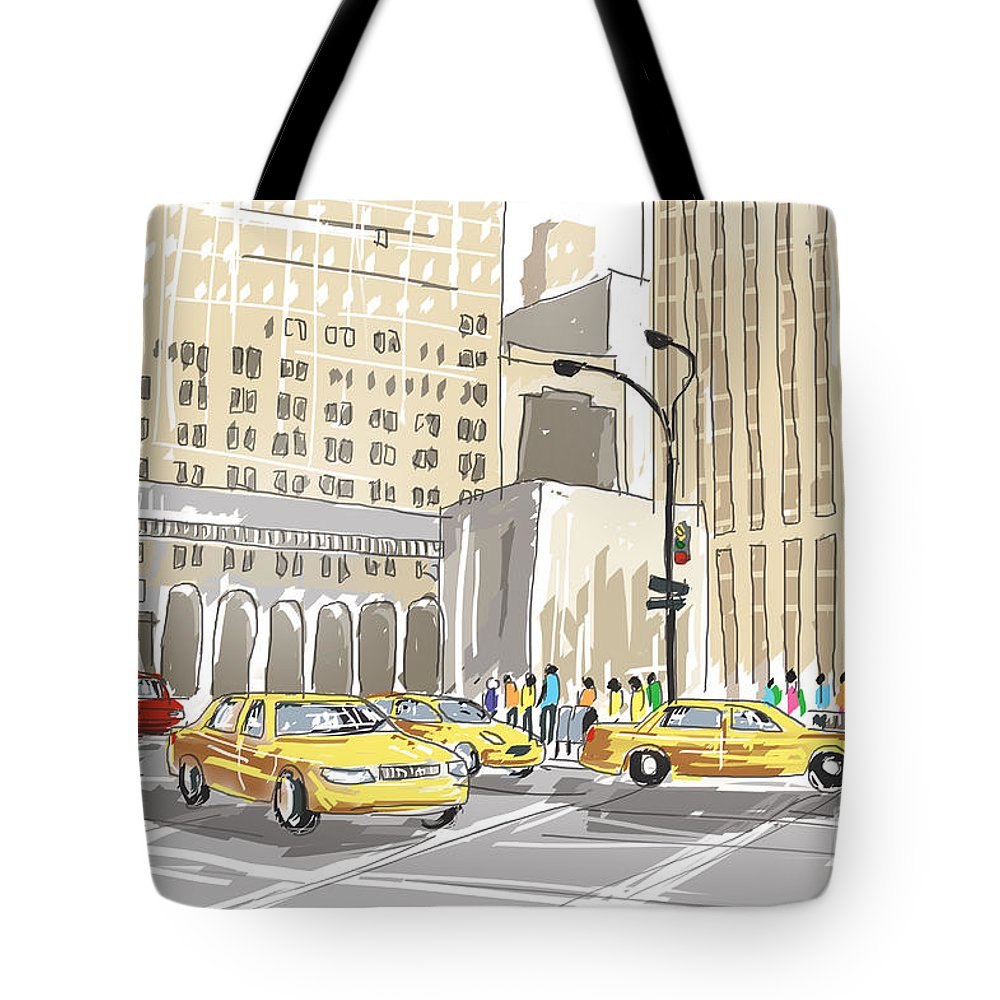 New Tote Bag featuring the photograph Hand Drawn Sketch Of A Busy New York City Street by Jorgo Photography - Wall Art Gallery