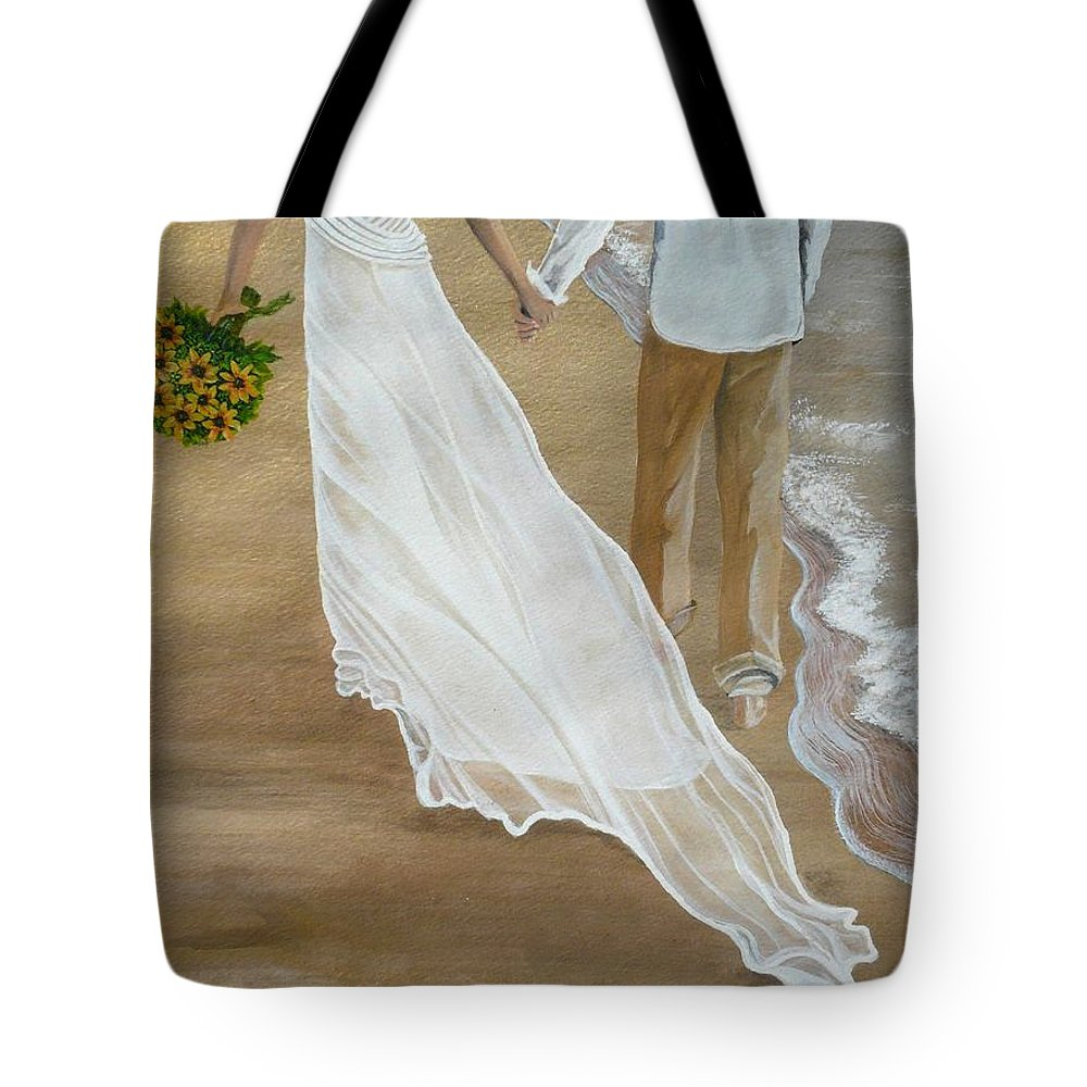 Bride And Groom Tote Bag featuring the painting Hand In Hand by Kris Crollard