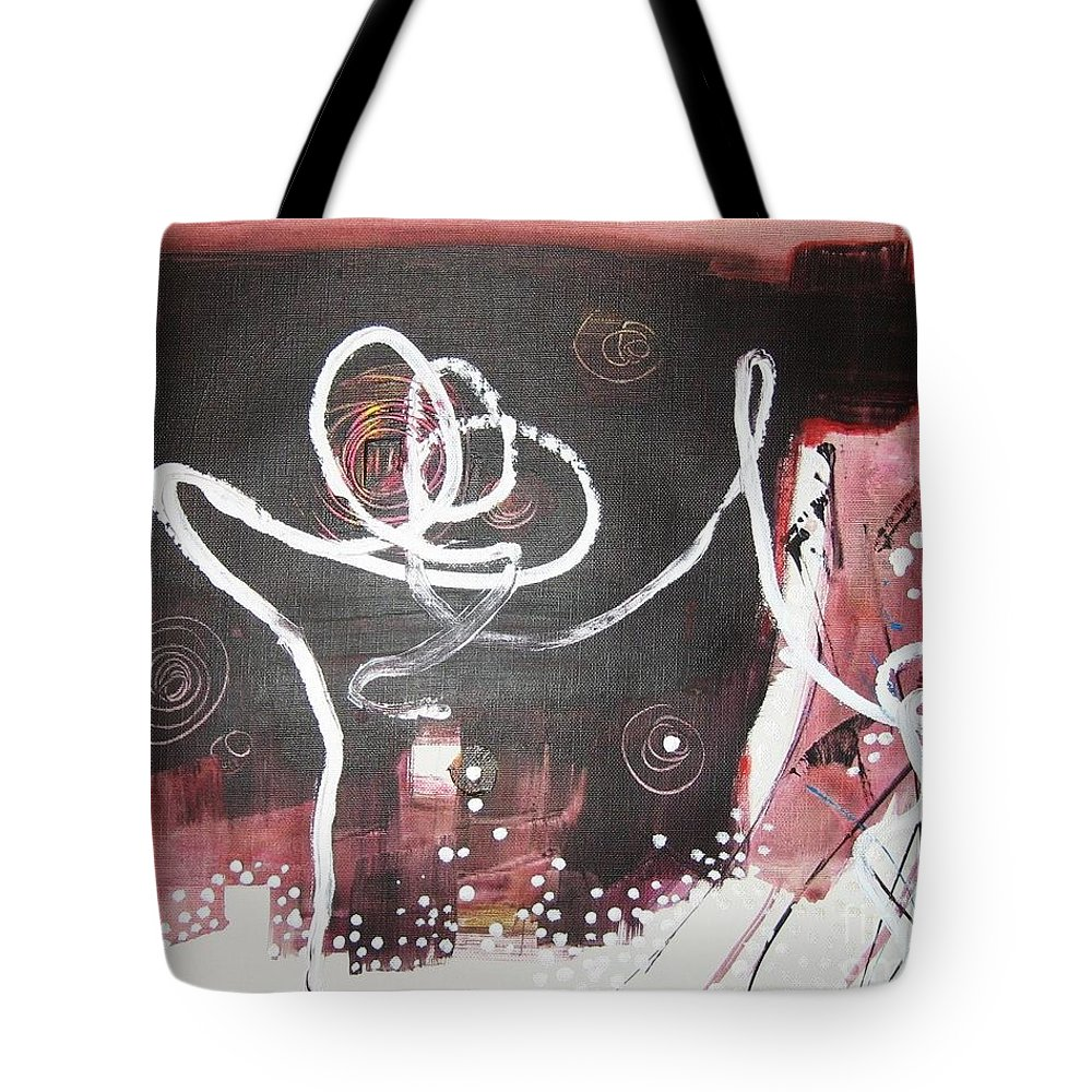 Abstract Paintings Tote Bag featuring the painting Hand In Hand2 by Seon-Jeong Kim