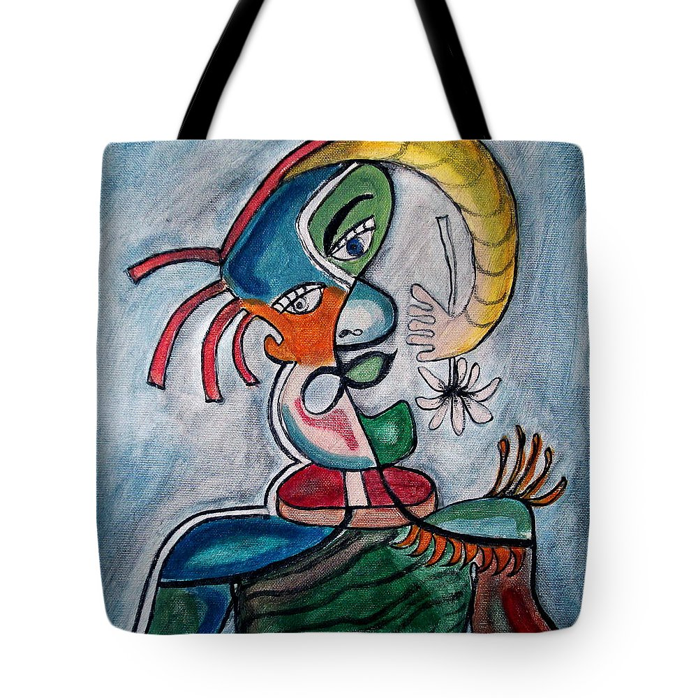 Abstract Face Tote Bag featuring the painting Hand Me A Flower by W Todd Durrance