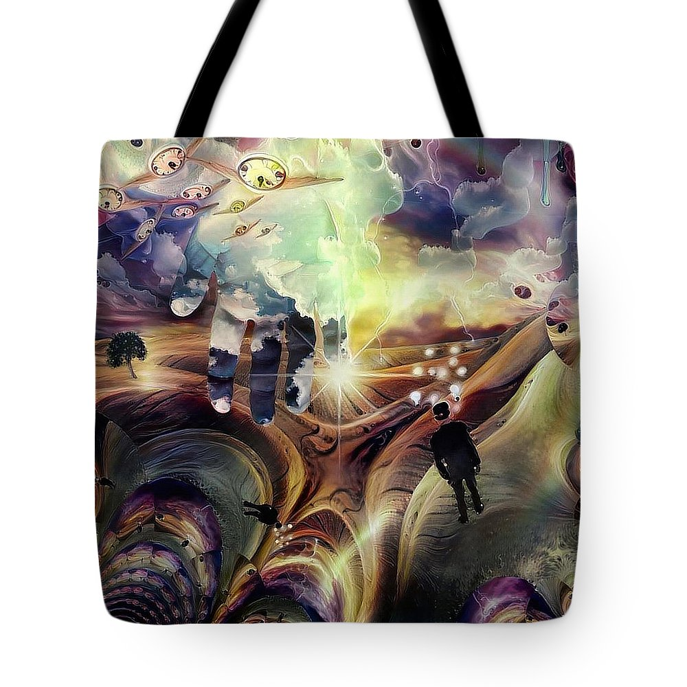 Winged Tote Bag featuring the digital art Hand Of God by Bruce Rolff