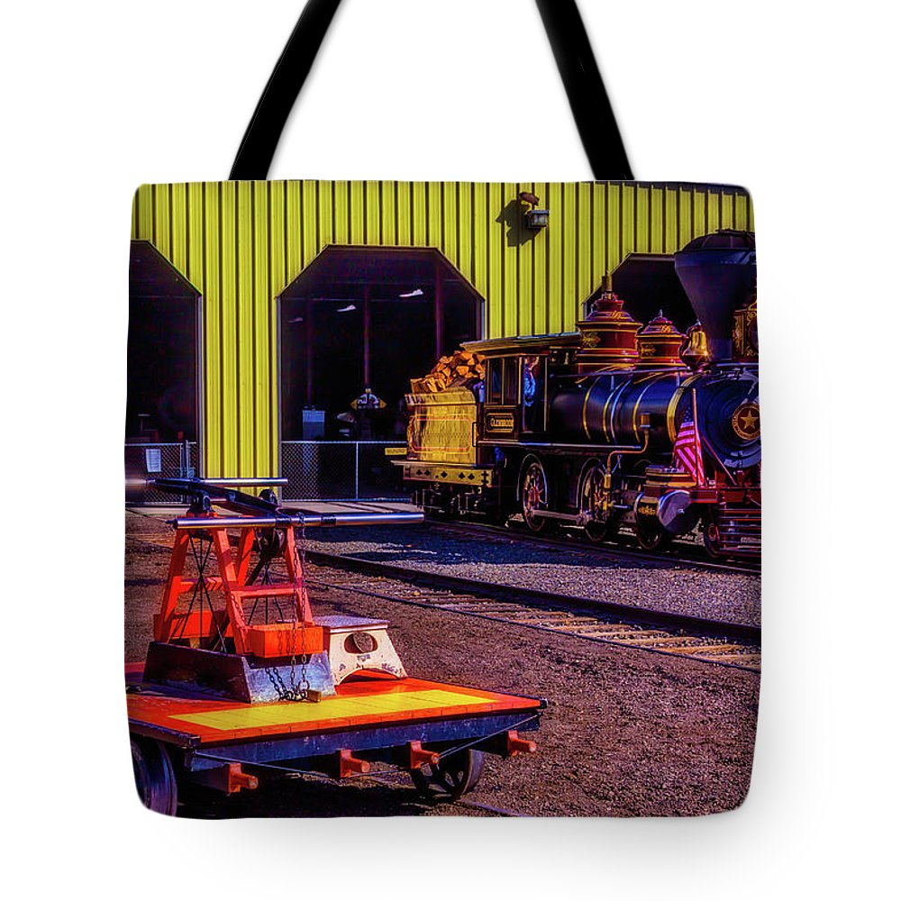 Virgina & Truckee Tote Bag featuring the photograph Handcar And Old Train by Garry Gay