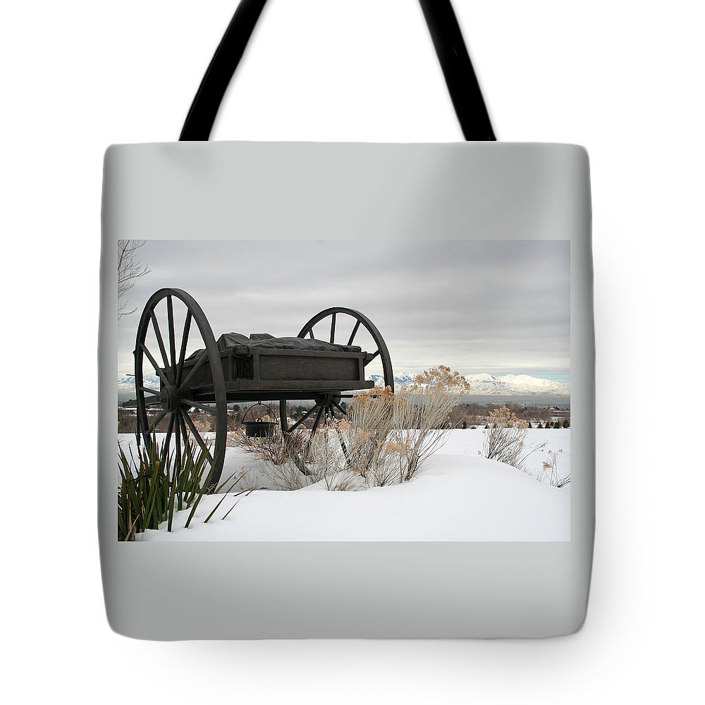 Handcart Tote Bag featuring the photograph Handcart Monument by Margie Wildblood
