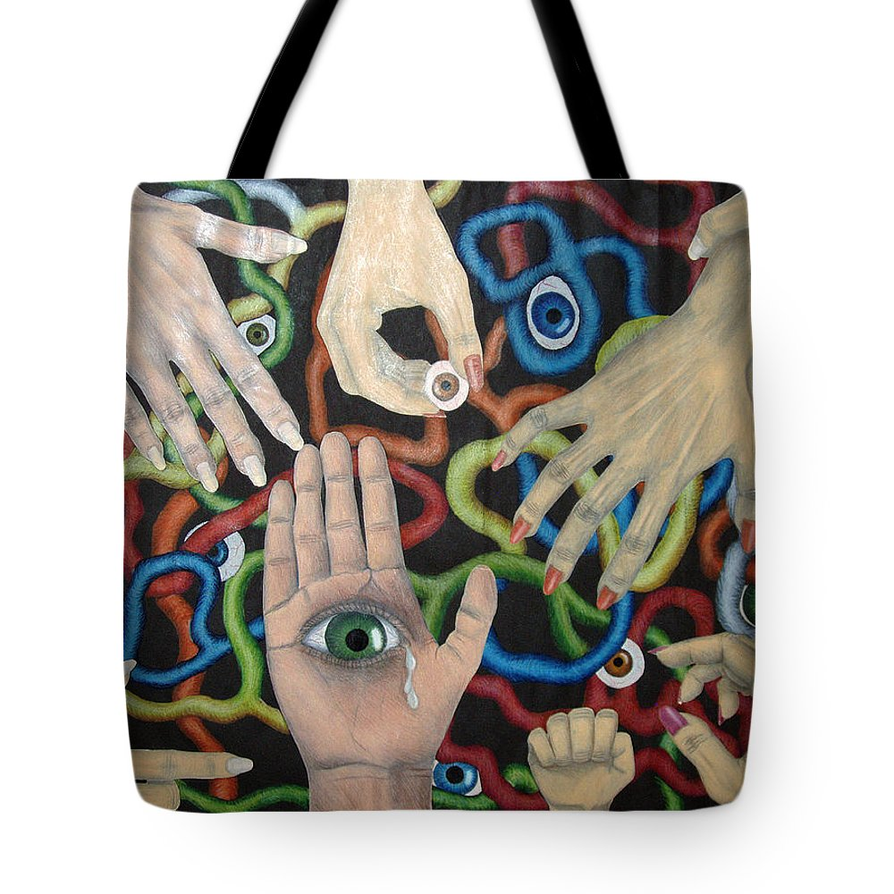 Collage Tote Bag featuring the drawing Hands And Eyes by Nancy Mueller