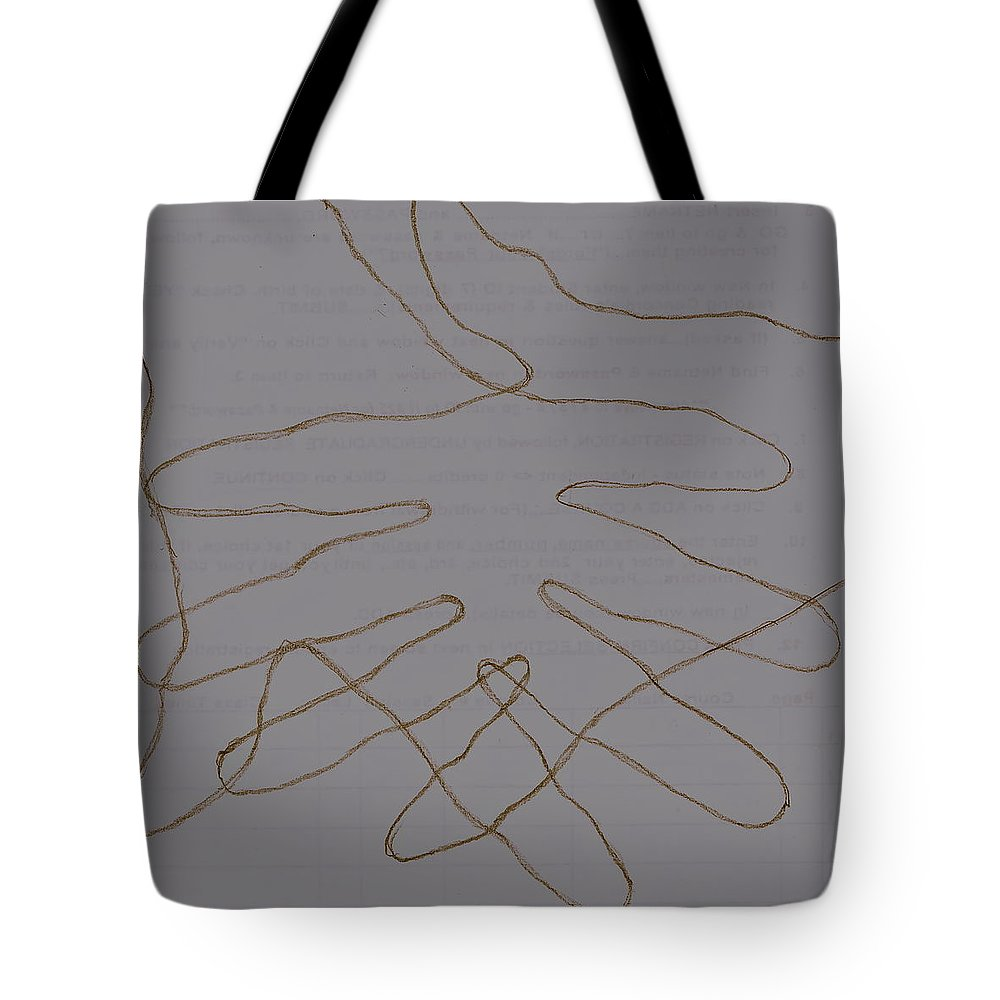 Abstraction Tote Bag featuring the drawing Hands by Chris Riley