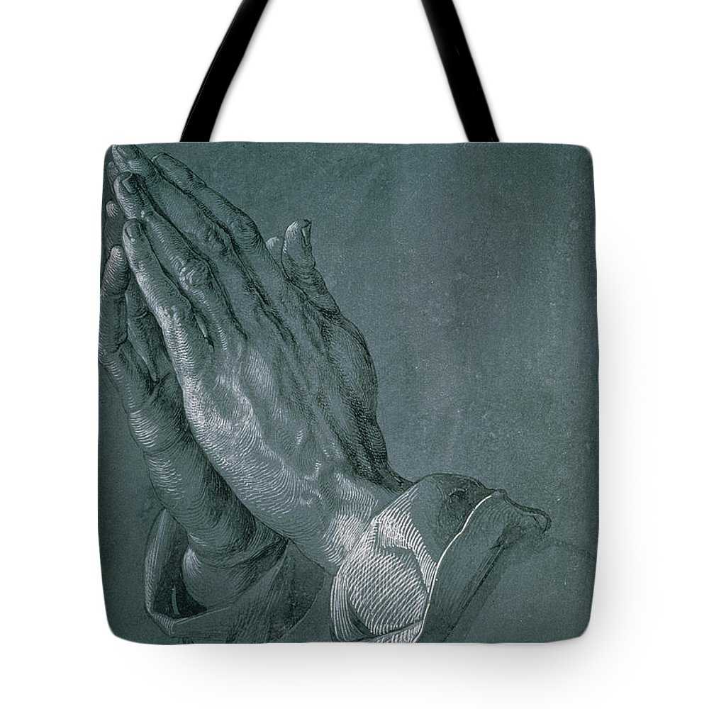 Hands Of An Apostle Tote Bag featuring the drawing Hands Of An Apostle by Albrecht Durer