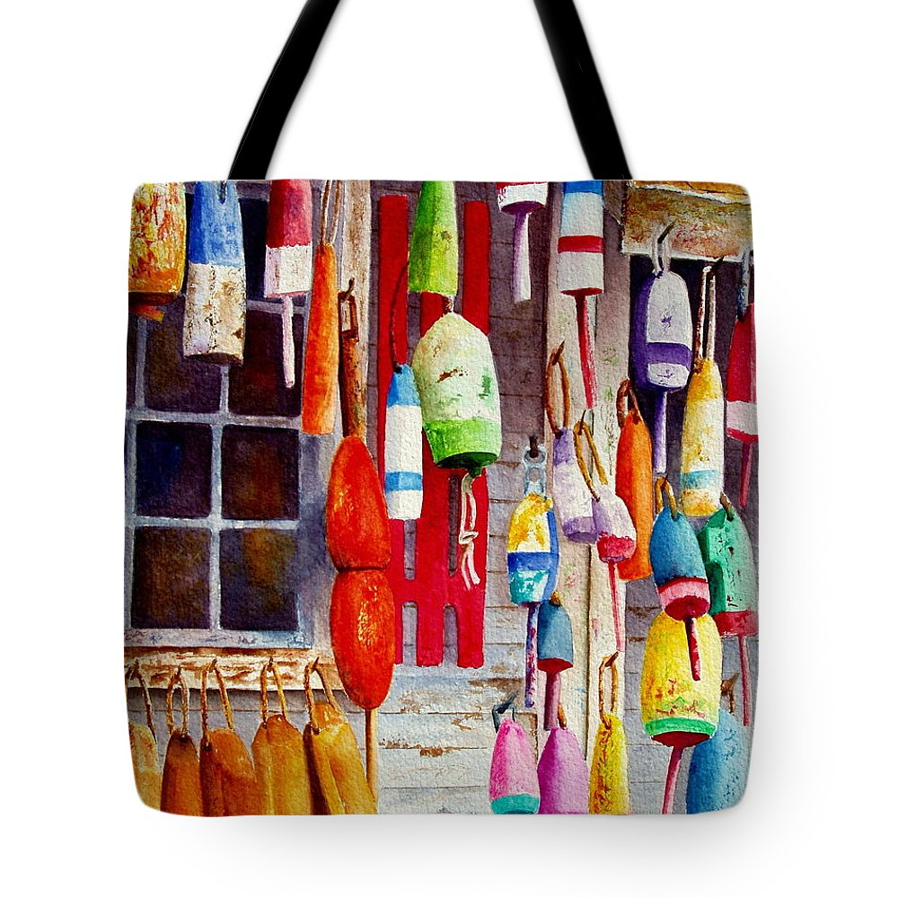 Lobster Tote Bag featuring the painting Hanging Around by Karen Fleschler