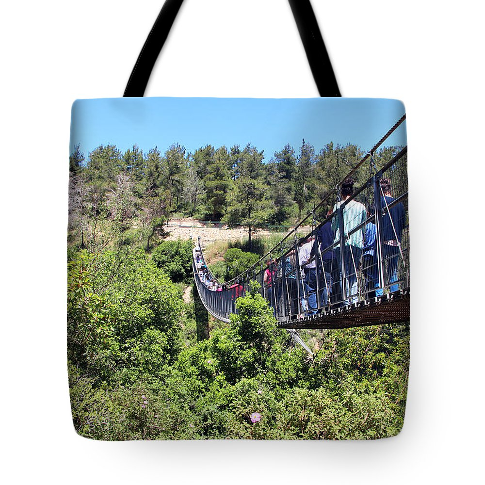 Haifa Tote Bag featuring the photograph Hanging Bridge by Munir Alawi