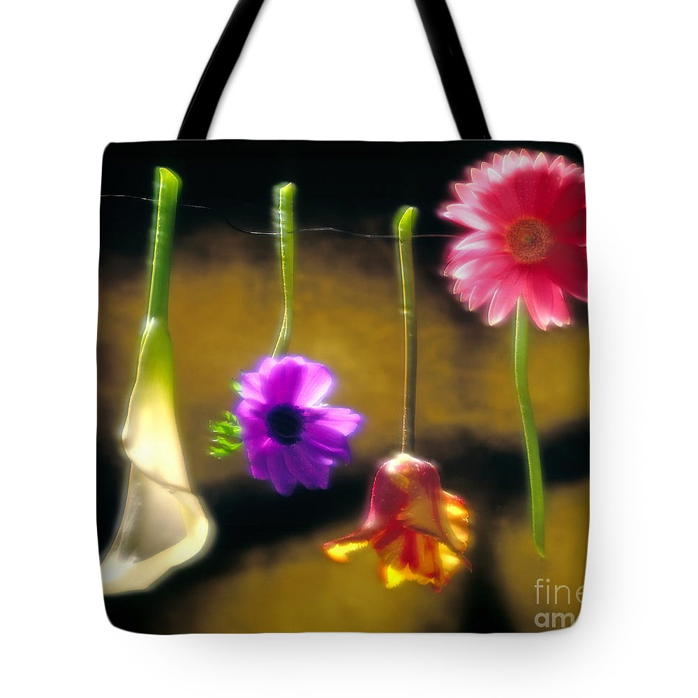 Tulip Tote Bag featuring the photograph Hanging Flowers by Tony Cordoza