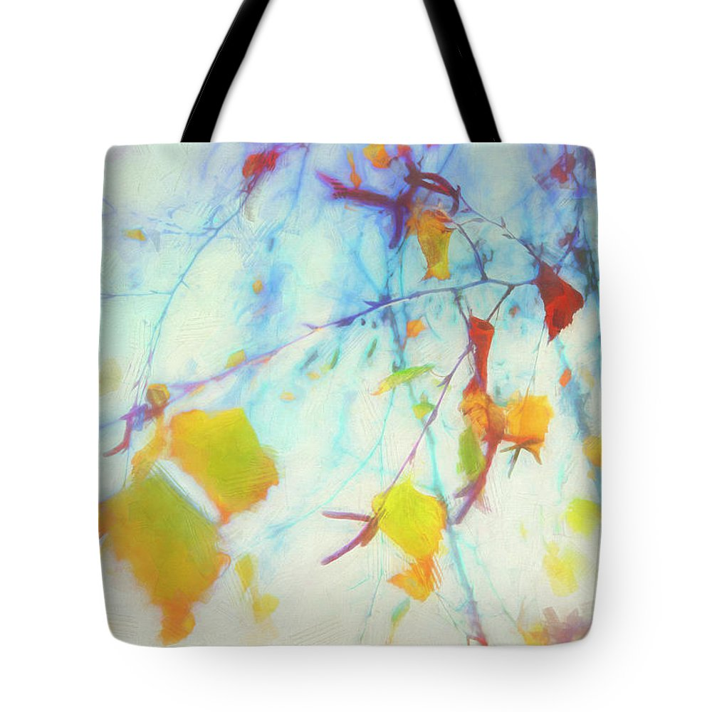 Hanging Leaves Tote Bag featuring the photograph Hanging Leaves by Davy Cheng