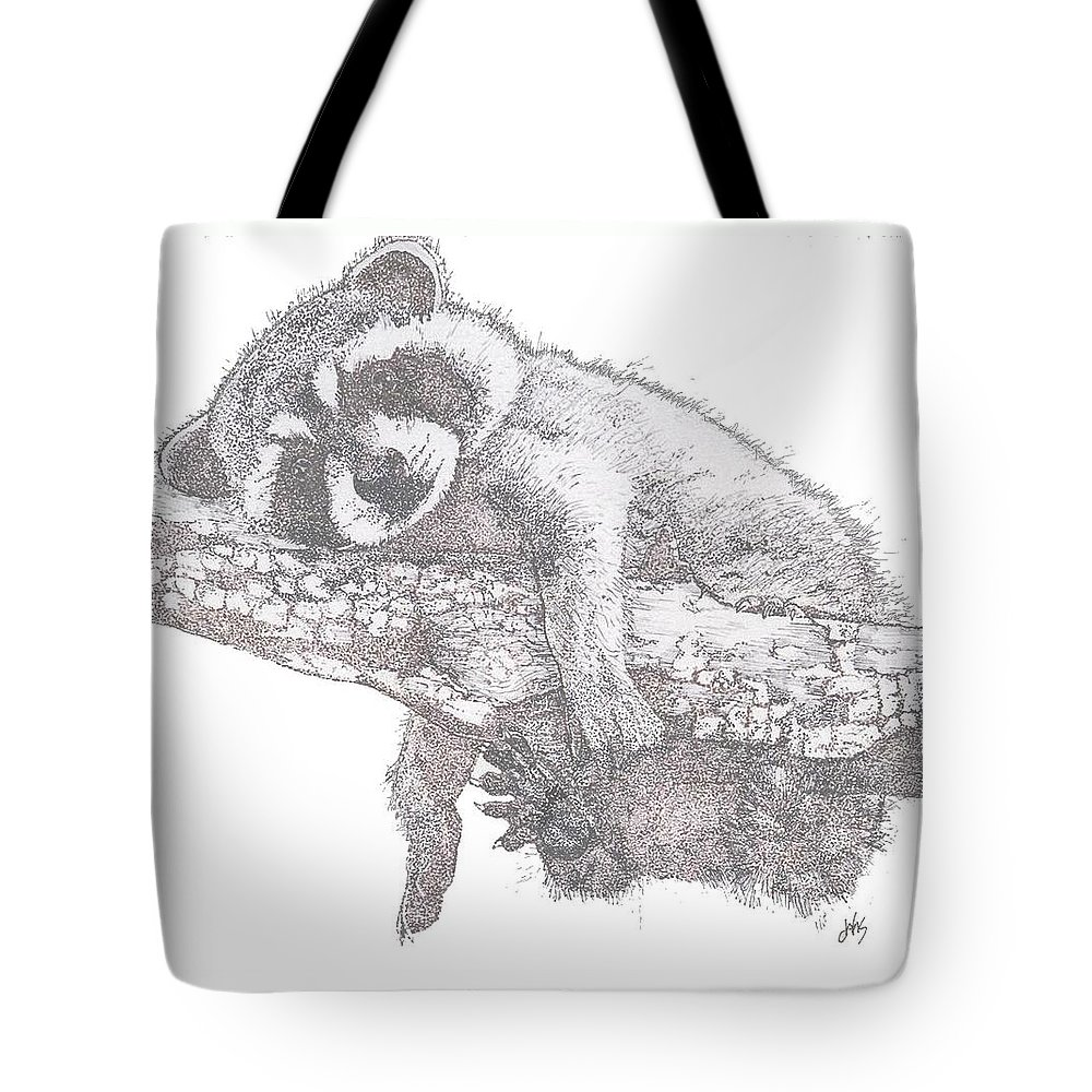 Raccoon Tote Bag featuring the painting Hanging Out by Debra Sandstrom