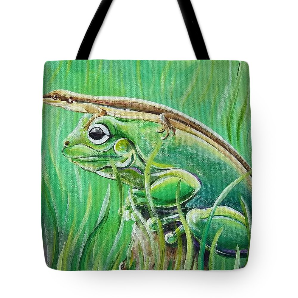 Frog Tote Bag featuring the painting Hanging Out by Renee Hilimire