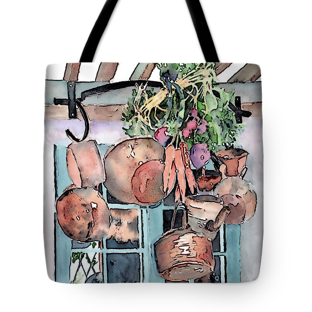 Pot Tote Bag featuring the painting Hanging Pots And Pans by Arline Wagner