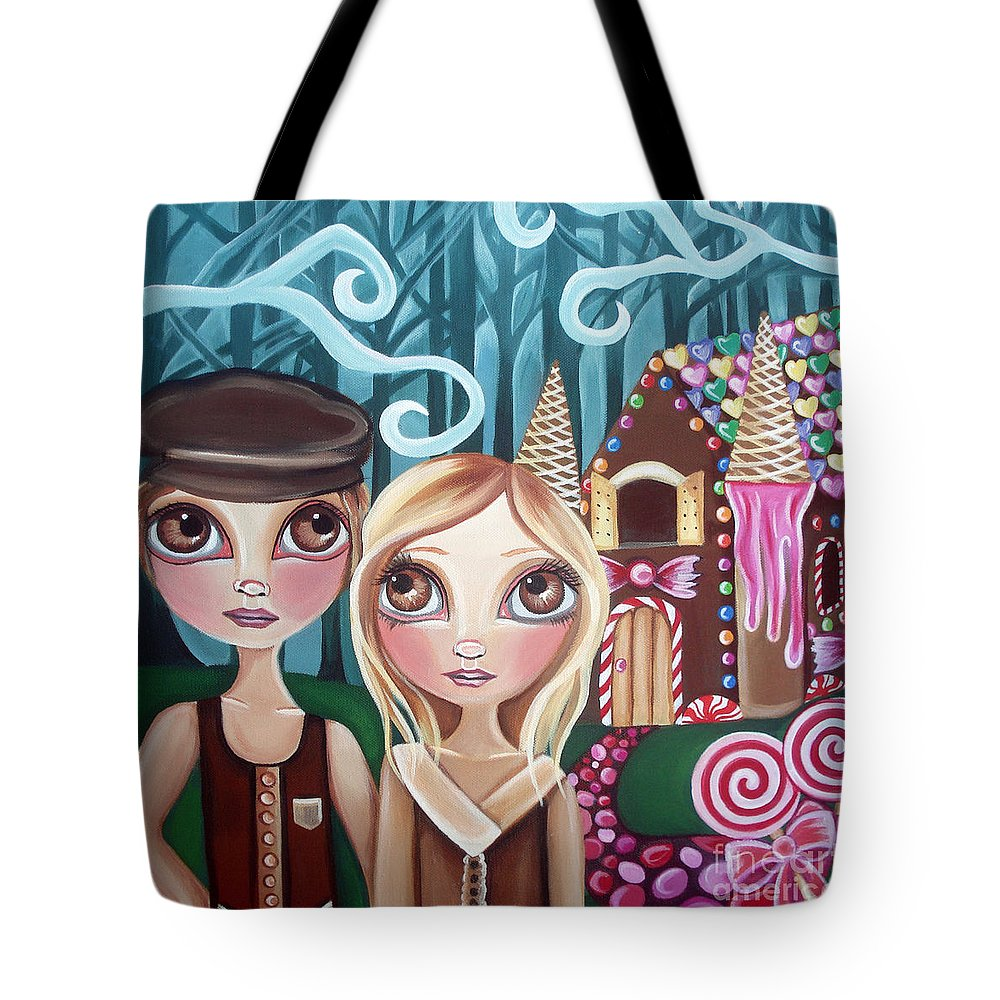 Hansel Tote Bag featuring the painting Hansel And Gretel by Jaz Higgins