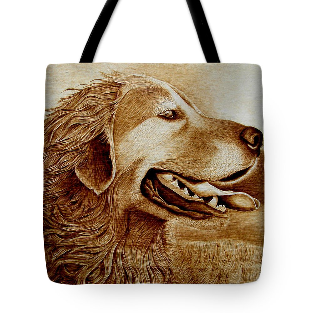 Dog; Setter; Irish Setter; Wind; Happy; Sepia; Woodburning; Pyrography; Hunt; Field;sunshine;tongue Tote Bag featuring the pyrography Happiness by Jo Schwartz
