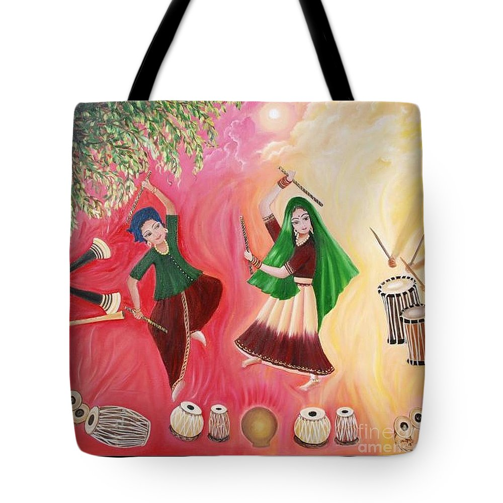 Figurative Tote Bag featuring the painting Happiness by Usha Rai