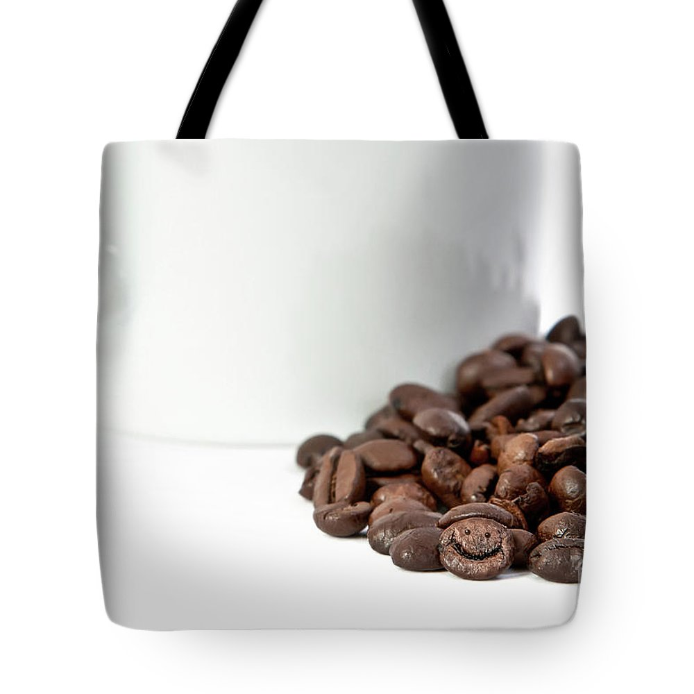 Coffee Tote Bag featuring the photograph Happy Bean by Carl Saathoff