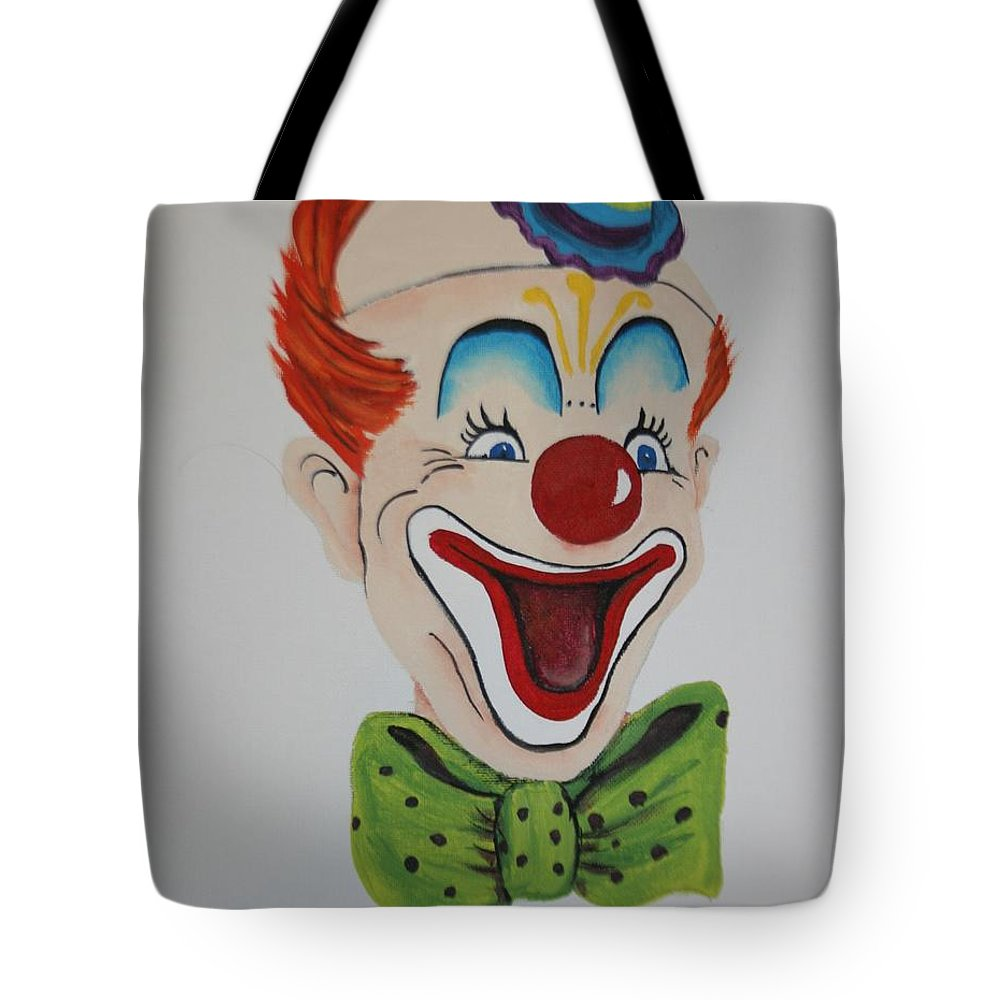 Clown Tote Bag featuring the painting Happy by Betty-Anne McDonald