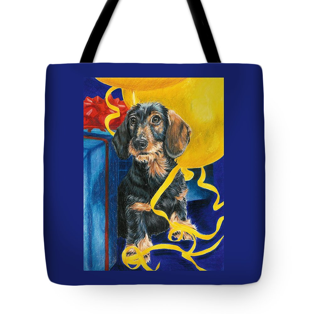 Dogs Tote Bag featuring the drawing Happy Birthday by Barbara Keith