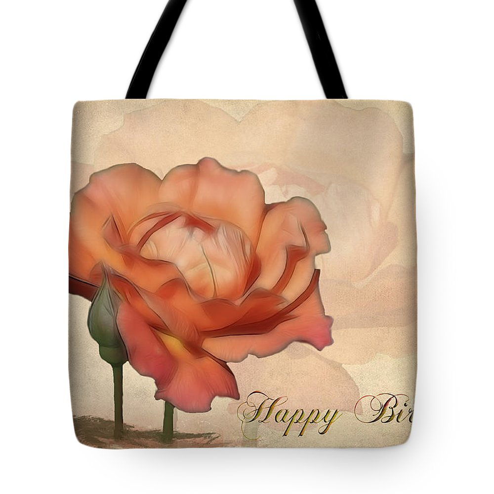 Flower Tote Bag featuring the photograph Happy Birthday Peach Rose Card by Teresa Zieba