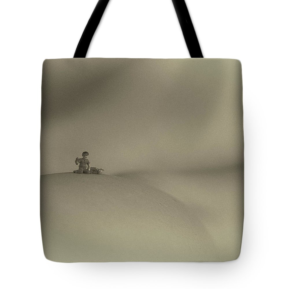 Sepia Tote Bag featuring the photograph Happy Camper by George Hobbs