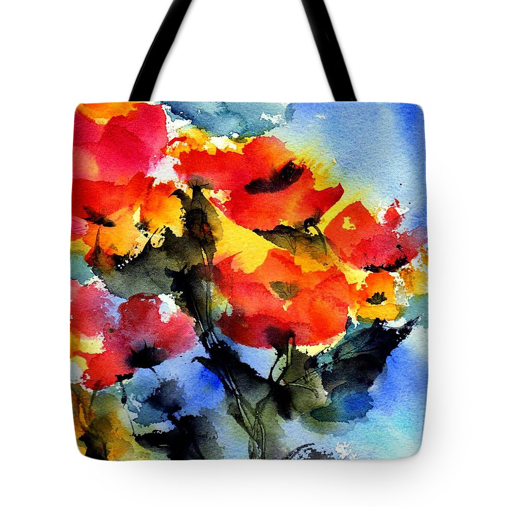 Flowers Tote Bag featuring the painting Happy Day by Anne Duke