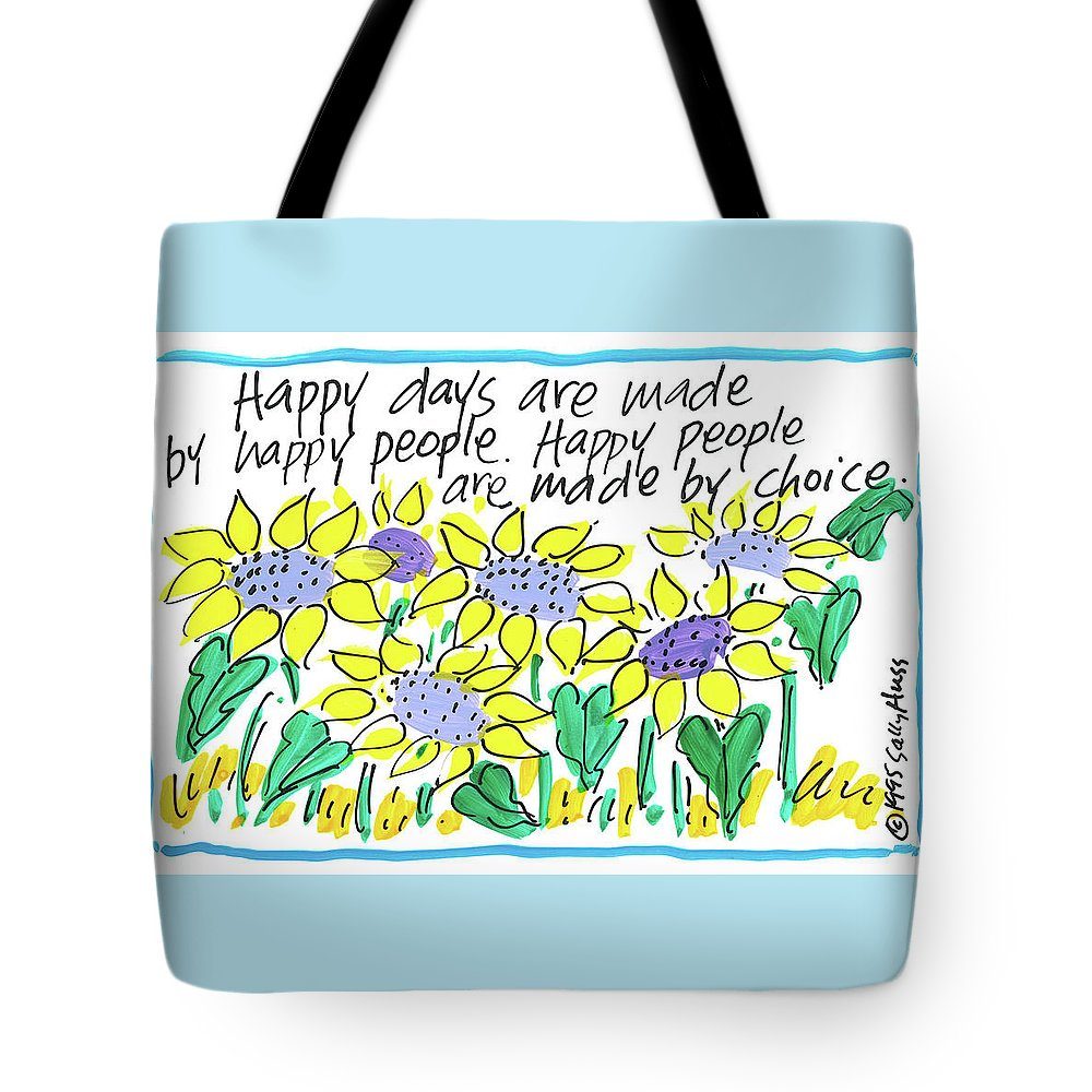 Sunflowers Tote Bag featuring the painting Happy Days W Blue by Sally Huss