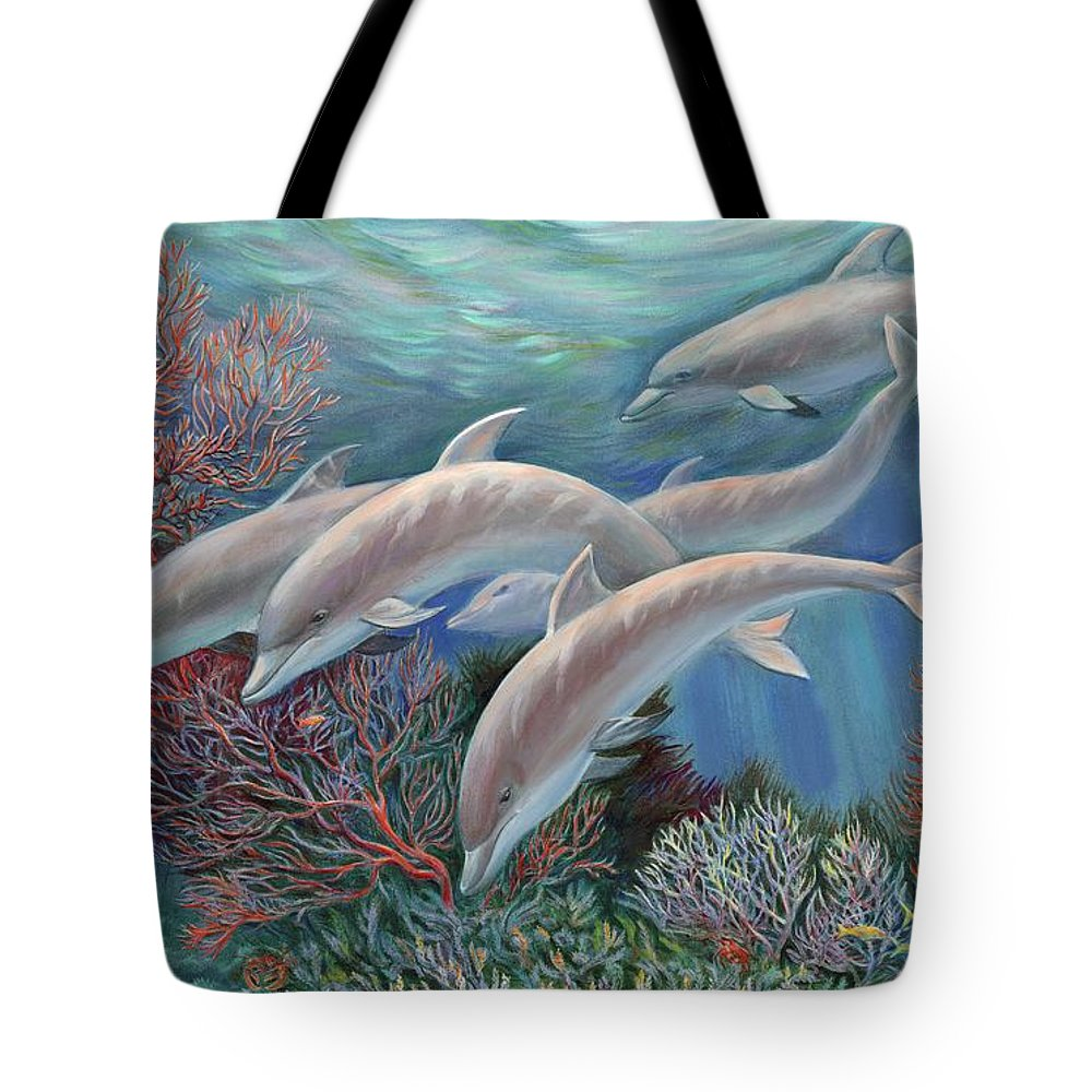 Dolphin Tote Bag featuring the painting Happy Family - Dolphins Are Awesome by Svitozar Nenyuk
