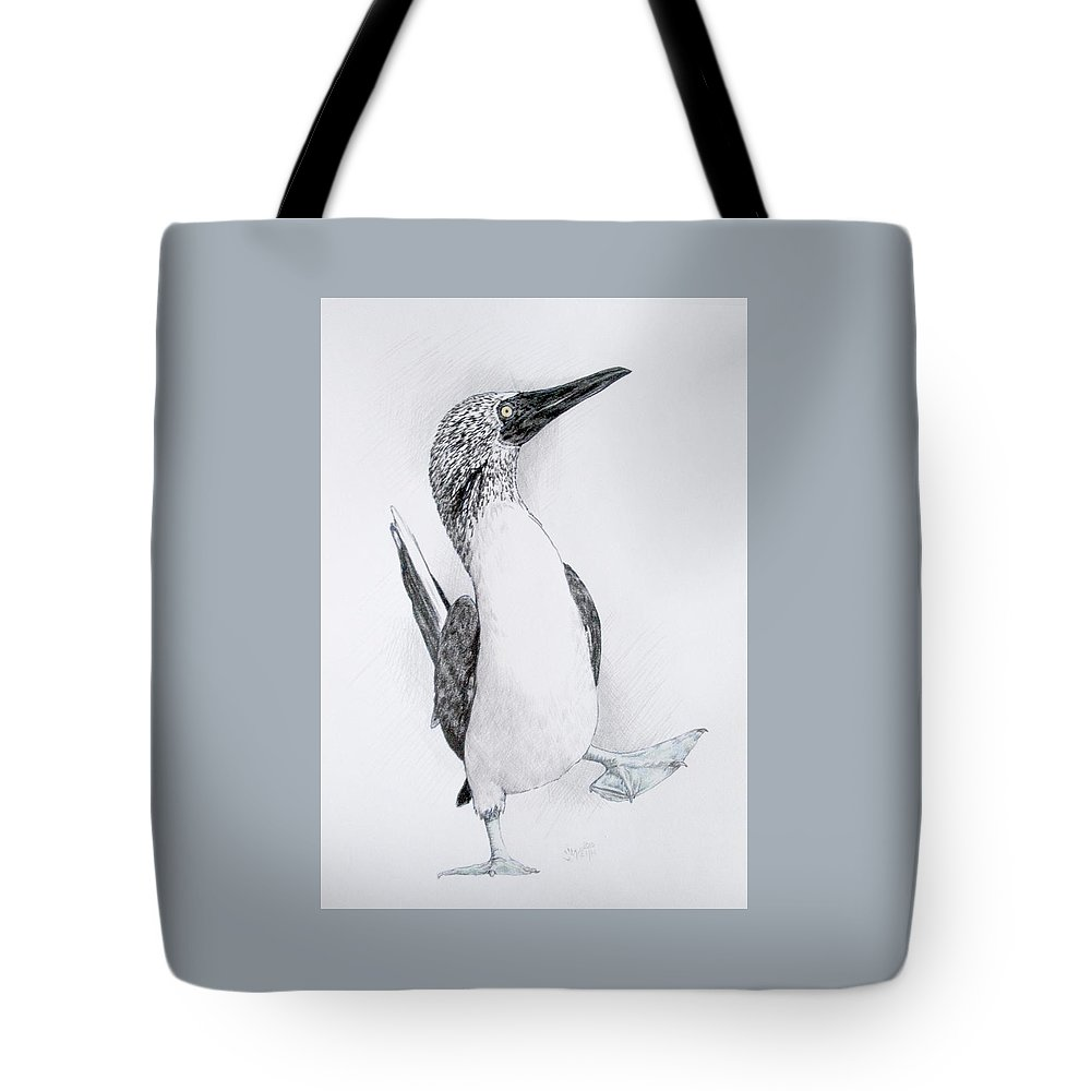 Booby Tote Bag featuring the drawing Happy Feet by Barbara Keith