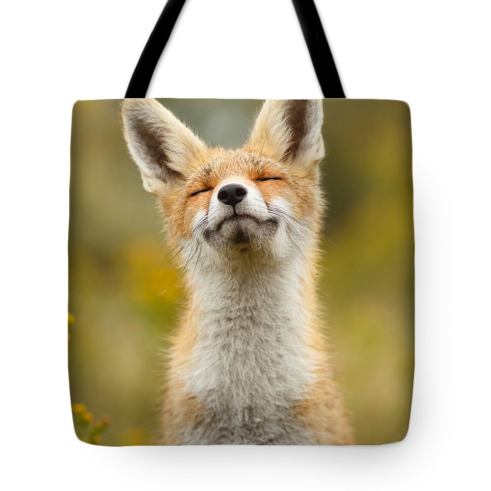 Red Fox Tote Bag featuring the photograph Happy Fox by Roeselien Raimond