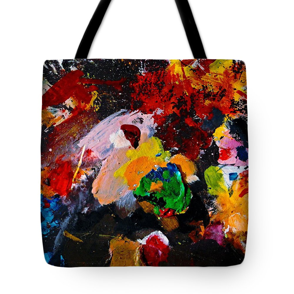 Abstract Tote Bag featuring the painting Happy Harmony by Natalie Holland