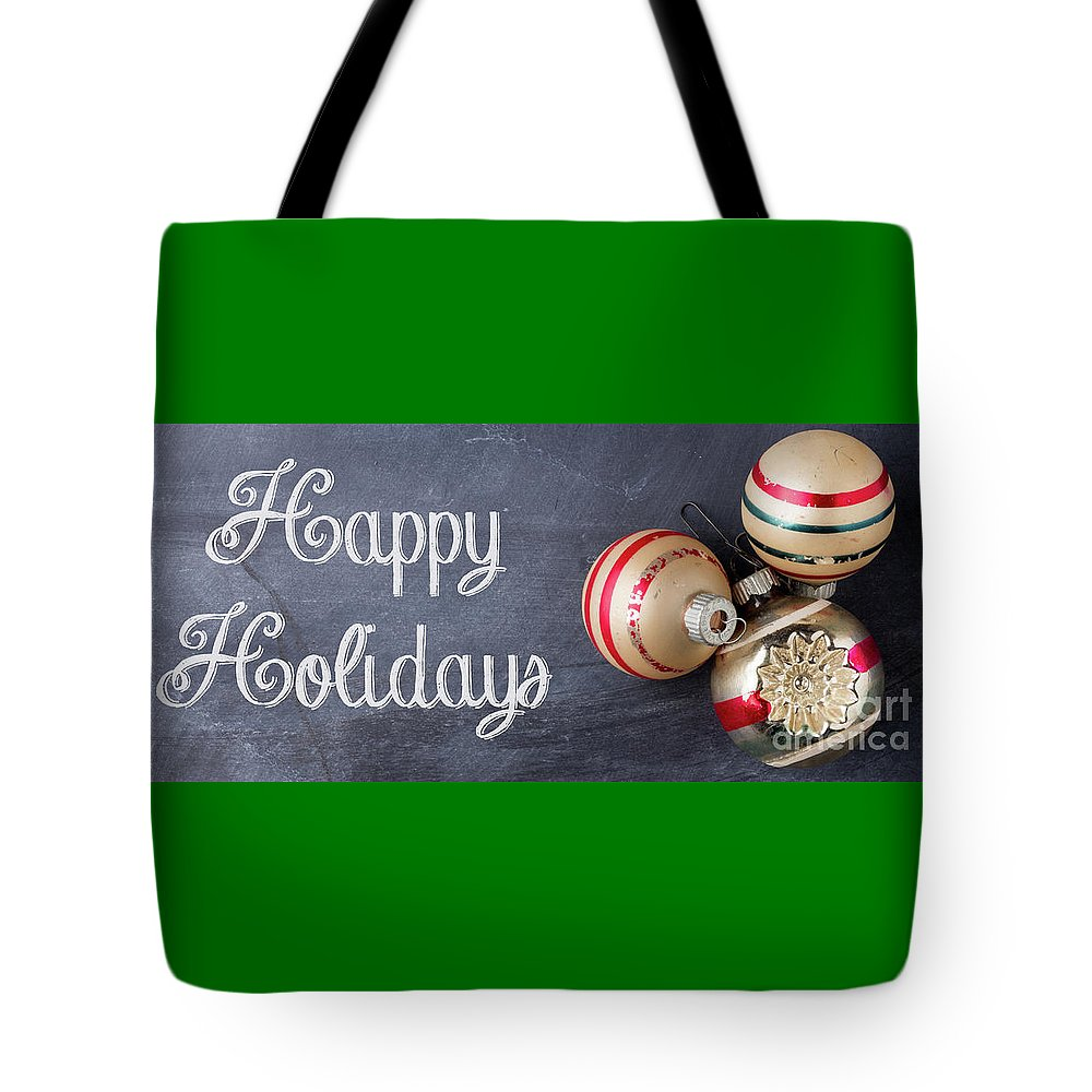 Mug Tote Bag featuring the photograph Happy Holidays Chalkboard Mug by Edward Fielding