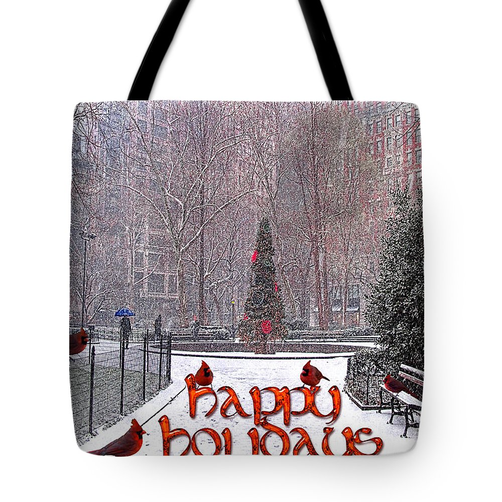 Card Tote Bag featuring the photograph Happy Holidays by Chris Lord
