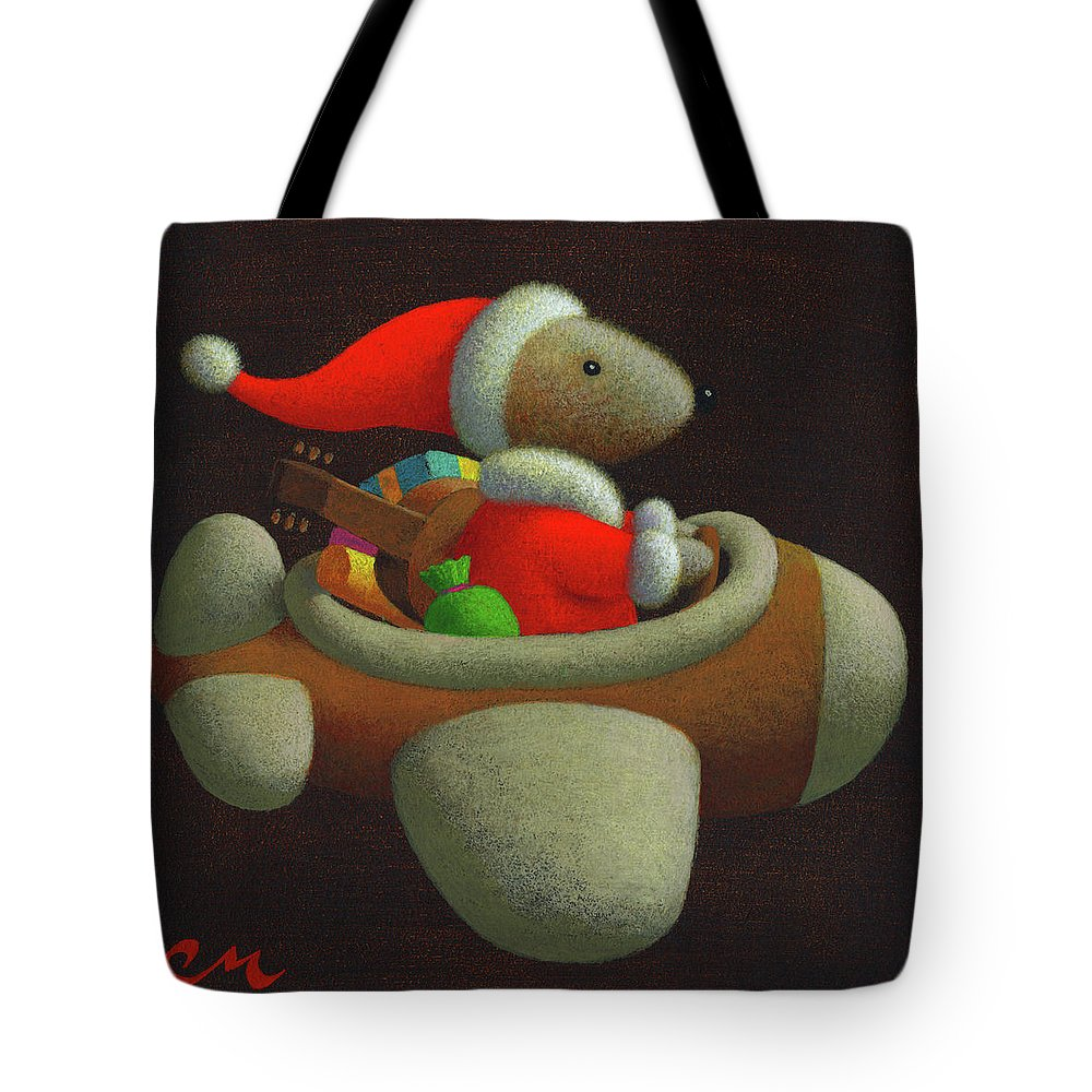 Christmas Tote Bag featuring the painting Happy Holidays by Chris Miles