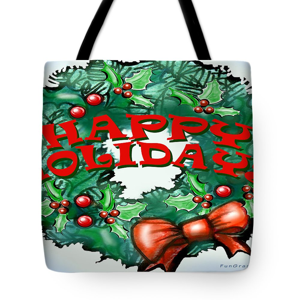 Happy Holidays Tote Bag featuring the greeting card Happy Holidays by Kevin Middleton