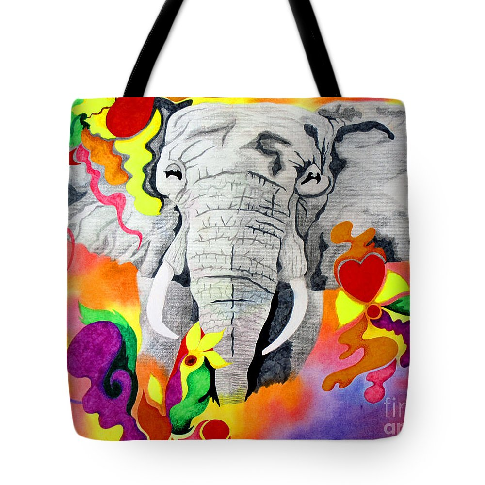Animal Tote Bag featuring the drawing Happy by Kathleen Allen