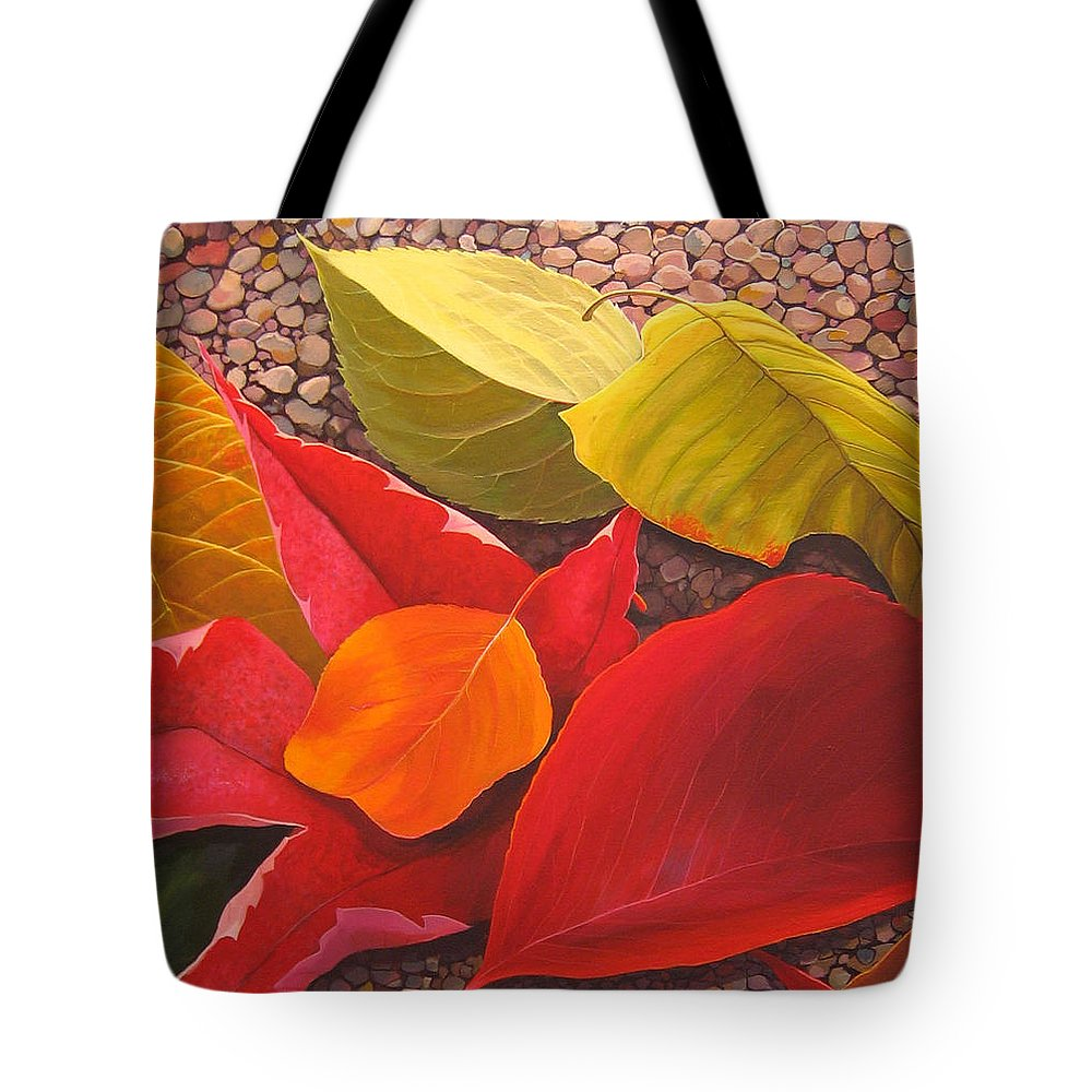 Autumn Leaves Tote Bag featuring the painting Happy Landings by Hunter Jay