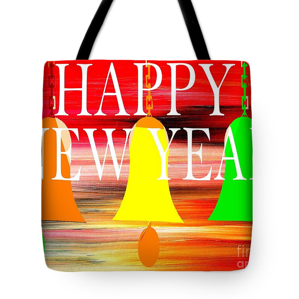 Christmas Tote Bag featuring the painting Happy New Year 10 by Patrick J Murphy