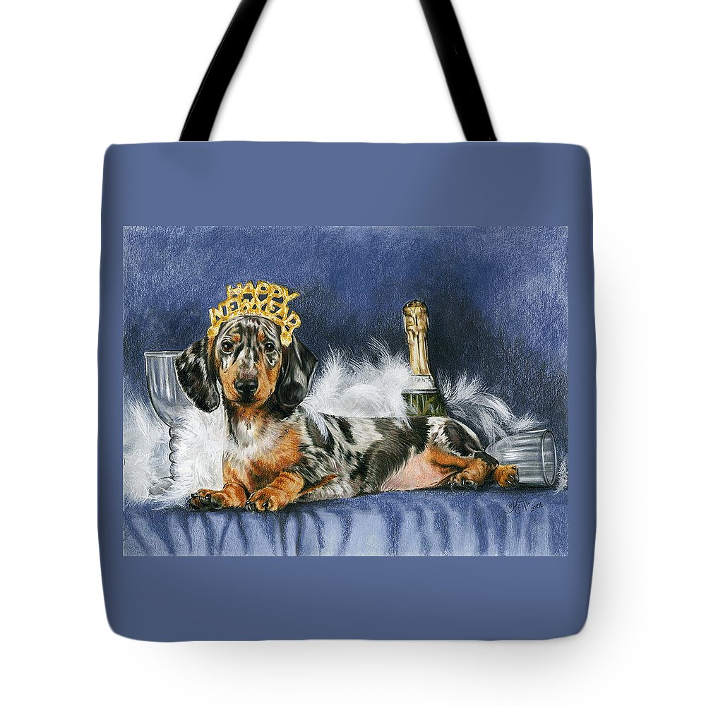 Dog Tote Bag featuring the mixed media Happy New Year by Barbara Keith