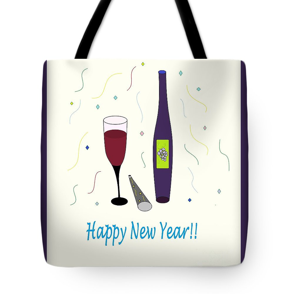 Glass Of Wine Tote Bag featuring the photograph Happy New Year by Mesa Teresita