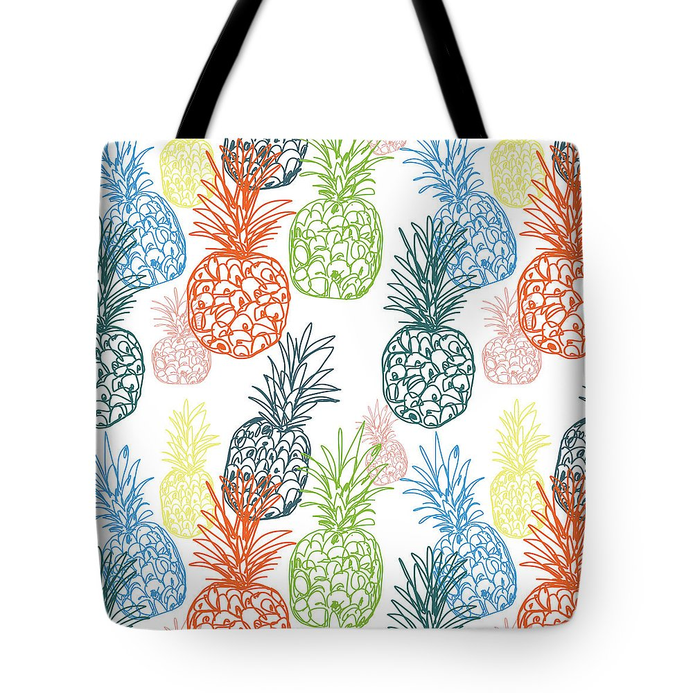 Pineapple Tote Bag featuring the digital art Happy Pineapple- Art By Linda Woods by Linda Woods