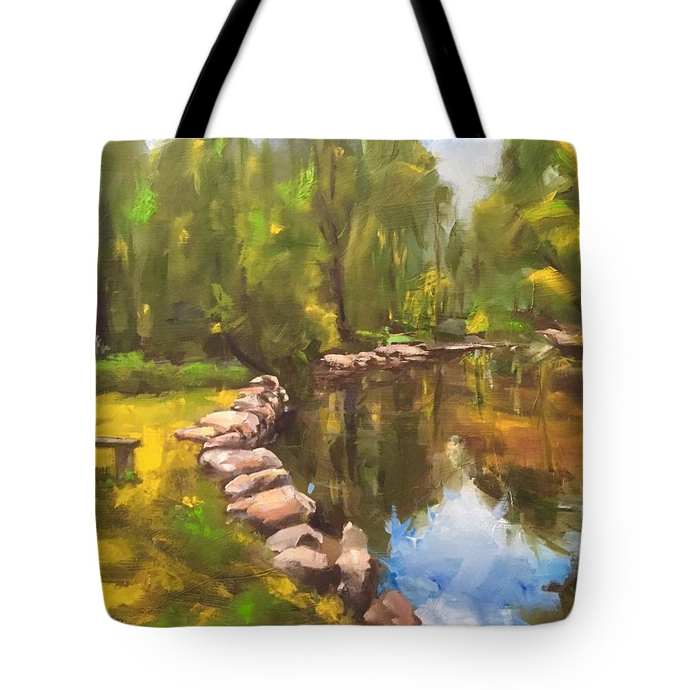 Lake Tote Bag featuring the painting Happy Place by Gary Bruton