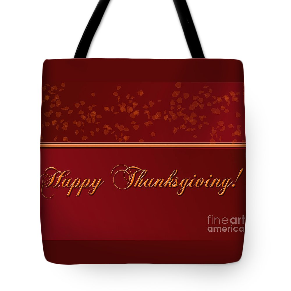 Thanksgiving Tote Bag featuring the digital art Happy Thanksgiving by Melissa A Benson